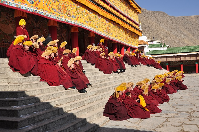 Monks in Labrang Monastery Are Having Their Morning Class