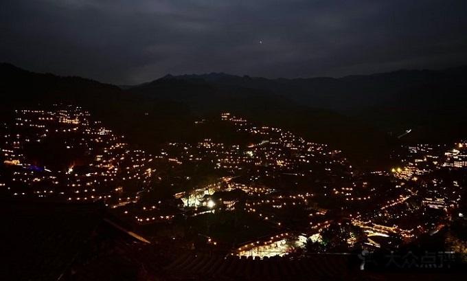 Night View of Xijiang Qianhu Miao Village