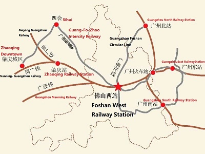 Foshan West Railway Station Opens Officially - Zhaoqing map